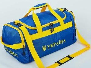 Сумка для спортзала Бочонок Украина (полиэстер, р-р 52x28x23см, синий-желтый)