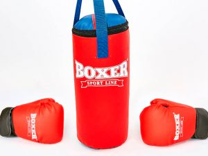 Боксерский набор детский (перчатки+мешок) BOXER (винил, мешок h-38см, d-16см, перчатки 4oz, цвета в ассортименте) - Цвет Черный-красный