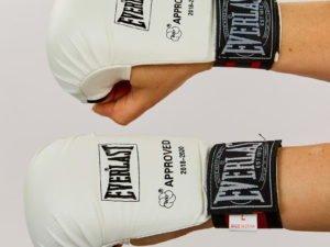 Перчатки для каратэ ELAST (PU, р-р  S-M, белый,  манжет на резинке) - S