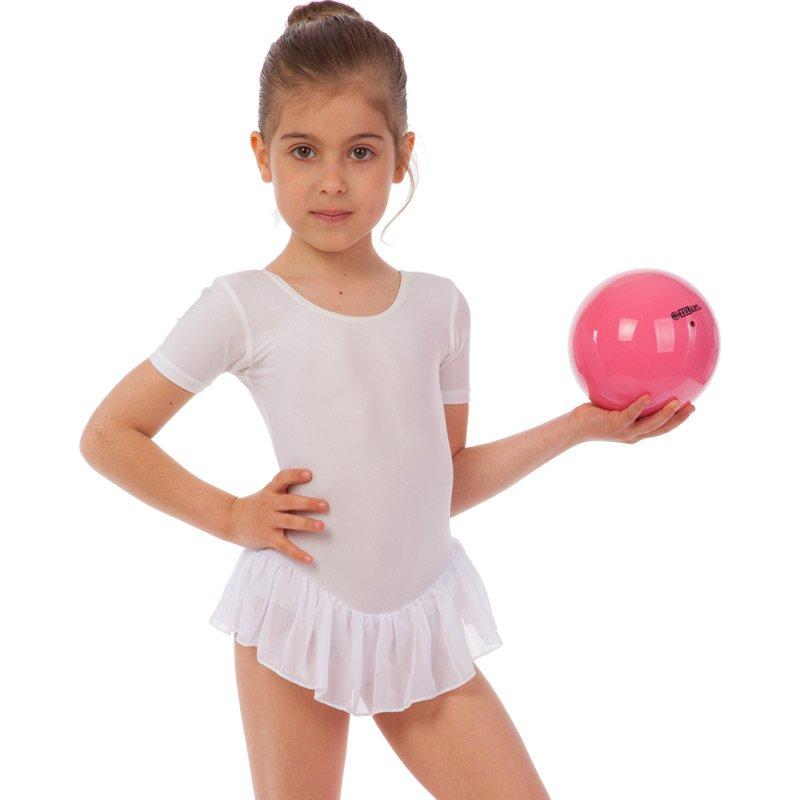 Купальник гимнастический с коротким рукавом и юбкой Lingo размер XS-L рост 100-154см белый