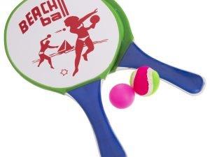 Набор для пляжного тенниса с липучкой (дерево, PVC, р-р 19х33см, 2 ракетки + 1 мячик)