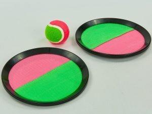 Набор Кетчбол с липучкой (тарелка 2шт d-20,5см, 1 мяч, пластик, PVC)