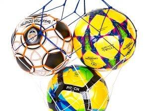 Сетка для мячей UR (полипропилен, d-2,5мм, 3 мяча, ячейка 12см, синий-белый, синий-желтый)
