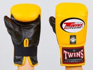 Снарядные перчатки кожаные TWINS (р-р M-XL, желтый-черный) - L