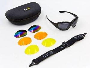 Очки спортивные солнцезащитные 5.11 в футляре (пластик, акрил, 3 сменных стекла)