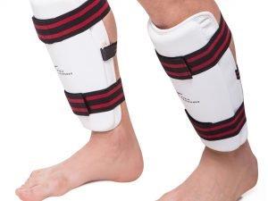 Защита голени для тхэквондо WTF (PU, р-р S-XL, белый, крепление резиновая лента) - S