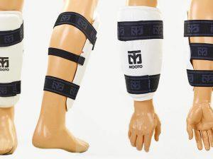 Защита голени и предплечья для тхэквондо MTO (PU, р-р S-XL, белый, набор 4 щитка) - L