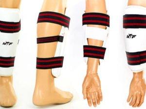 Защита голени и предплечья для тхэквондо WTF (PU, р-р S-XL, белый, набор 4 щитка) - XL