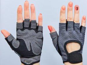 Перчатки для фитнеca ВС-8304-GR (PVC, PL, открытые пальцы, р-р S-XL, серый) - XL
