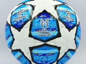 Мяч футбольный №3 PU ламин. CHAMPIONS LEAGUE (№3, 5 сл., сшит вручную, белый-синий)