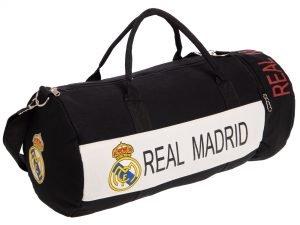 Сумка для тренировок с символикой футбольного клуба REAL MADRID (р-р 53х25см,черный-белый)