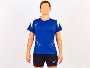 Форма волейбольная женская с воротничком MIZUNO PRESTIGE (Coolmax, шорты-хлопок, р-р S-XL(42-48), синий-белый) Replica - S-M (42-44)
