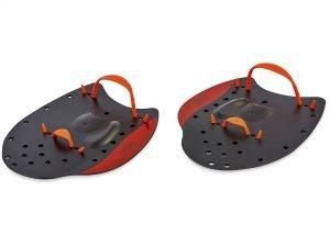 Лопатки для плавания гребные SPDO (пластик, резина, р-р L-21×15см, черный-красный) Дубл.