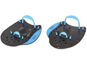 Лопатки для плавания гребные SPDO (пластик, резина, р-р M-18×12см, черный-синий)Дубл.
