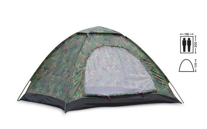 Палатка универсальная 2-х местная (р-р 2х1,5х1,1м, PL, хаки)