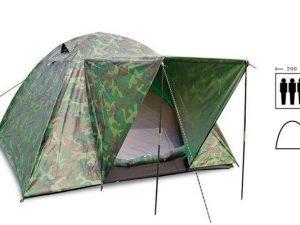 Палатка универсальная 3-х местная с тентом и тамбуром (р-р 2х2х1,35м, PL, камуфляж)