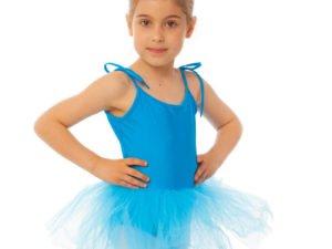 Купальник для танцев с пышной юбкой полупачкой детский Lingo (р-р S-L, рост 110-154см, голубой) - Голубой-L, рост 134-154