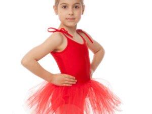 Купальник для танцев с пышной юбкой полупачкой детский Lingo (р-р S-XL, рост 110-165см, красный) - Красный-L, рост 134-154