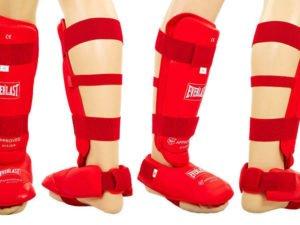 Защита голени с футами для единоборств PU ELAST (р-р S-XL, красный) - M