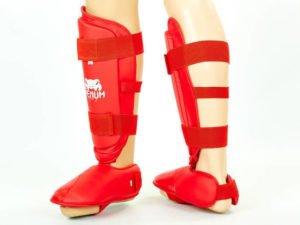Защита голени с футами для единоборств PU VNM (р-р S-XL, красный) - XL