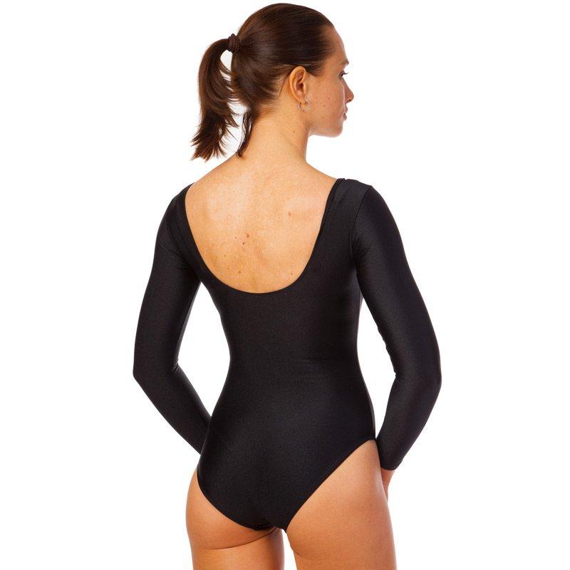 Купальник гимнастический с длинным рукавом Zelart размер XS-XL рост 100-165см черный