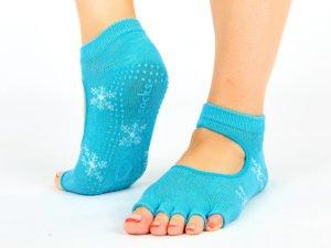 Носки для йоги с открытыми пальцами SP-Planeta (полиэстер, хлопок, р-р 36-41, цвета в ассортименте) - Цвет Голубой