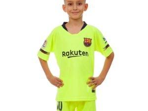 Форма футбольная детская BARCELONA MESSI 10 гостевая 2019 SP-Planeta (р-р 20-30 6-16лет, 110-155см, салатовый-синий) - 24, возраст 10лет, рост 130-135