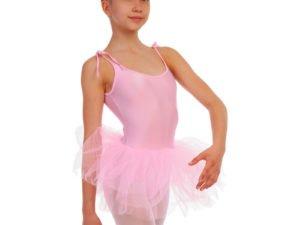 Купальник для танцев с пышной юбкой полупачкой детский Lingo (р-р S-XL, рост 110-165см, светло-розовый) - Светло-розовый-L, рост 134-154