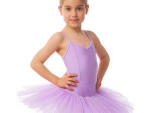 Купальник для танцев с юбкой-пачкой детский Zelart (р-р XS-XL, рост 100-165см, фиолетовый) - Фиолетовый-L, рост 134-154