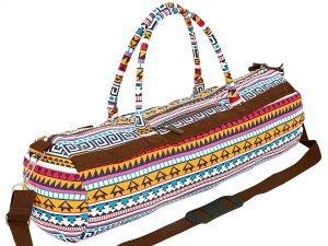 Сумка для йога коврика Yoga bag KINDFOLK (размер 20смх65см, полиэстер, хлопок, оранжевый-голубой)