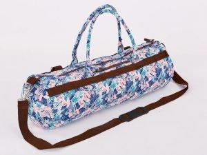 Сумка для йога коврика Yoga bag KINDFOLK (размер 20смх65см, полиэстер, хлопок, розовый-голубой)