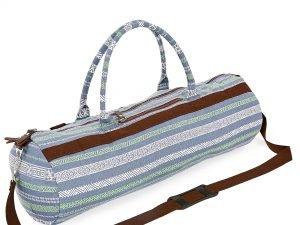 Сумка для йога коврика Yoga bag KINDFOLK (размер 20смх65см, полиэстер, хлопок, серый-синий)