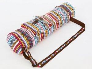 Сумка для йога коврика Yoga bag FODOKO (размер 16смх70см, полиэстер, хлопок, оранжевый-голубой)