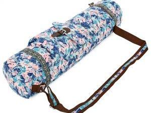 Сумка для йога коврика Yoga bag FODOKO (размер 16смх70см, полиэстер, хлопок, розовый-голубой)