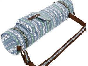 Сумка для йога коврика Yoga bag FODOKO (размер 16смх70см, полиэстер, хлопок, серый-синий)