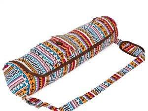 Сумка для йога коврика Yoga bag KINDFOLK (размер 17смх72см, полиэстер, хлопок, оранжевый-голубой)