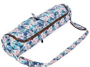 Сумка для йога коврика Yoga bag KINDFOLK (размер 17смх72см, полиэстер, хлопок, розовый-голубой)