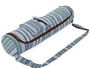 Сумка для йога коврика Yoga bag KINDFOLK (размер 17смх72см, полиэстер, хлопок, серый-синий)