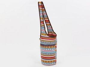 Сумка для фитнеса и йоги через плечо Yoga bag KINDFOLK (размер 33смх84см, полиэстер, хлопок, оранжевый-голубой)