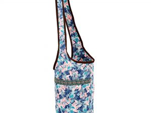 Сумка для фитнеса и йоги через плечо Yoga bag KINDFOLK (размер 33смх84см, полиэстер, хлопок, розовый-голубой)