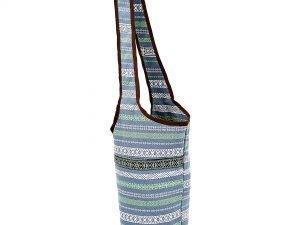 Сумка для фитнеса и йоги через плечо Yoga bag KINDFOLK (размер 33смх84см, полиэстер, хлопок, серый-синий)