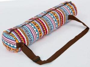 Сумка для йога коврика Yoga bag KINDFOLK (размер 15смх65см, полиэстер, хлопок, оранжевый-голубой)