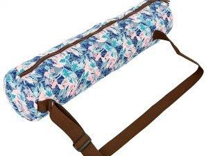 Сумка для йога коврика Yoga bag KINDFOLK (размер 15смх65см, полиэстер, хлопок, розовый-голубой)
