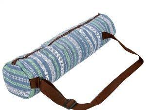 Сумка для йога коврика Yoga bag KINDFOLK (размер 15смх65см, полиэстер, хлопок, серый-синий)
