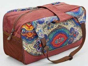 Сумка для фитнеса и йоги Yoga bag KINDFOLK (размер 19смх50х33см, полиэстер, хлопок, оранжевый-фиолетовый)