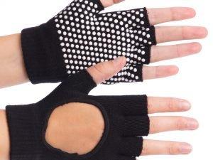 Перчатки для йоги и танцев без пальцев (хлопок, спандекс, эластан, цвета в ассортименте) - Цвет Черный