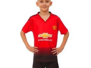 Форма футбольная детская MANCHESTER UNITED домашняя 2019 SP-Planeta (р-р 20-28-6-14лет, 110-155см, красный-черный) - 22, возраст 8лет, рост 120-125