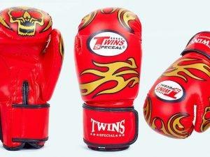 Перчатки боксерские DX на липучке TWINS (р-р 10-12oz, цвета в ассортименте) - Красный-10 унции
