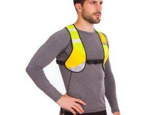 Жилет светоотражающий с карманом для прогулок и тренировок в темное время суток (с ремнем, полиэстер, цвета в ассортименте) - Цвет Оранжевый-желтый