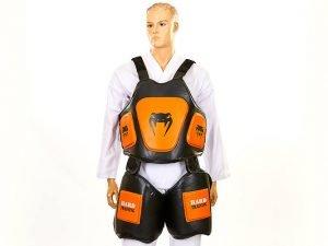 Защита корпуса и бедер тренера PU VNM (безразмерная, крепл. на липучках, черный-оранжевый)